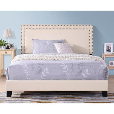 86-in H Queen Size Milan Upholstered Platform Bed with Wooden Slats and Nailhead