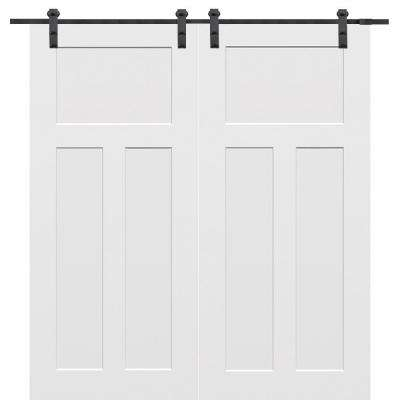 60 in. x 80 in. Primed Composite Craftsman Smooth Surface Solid Core Double Barn Door with Sliding Door Hardware Kit