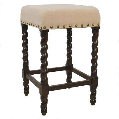 Remick 24 in. Espresso and Linen Barley Twist Upholstered Counter Stool