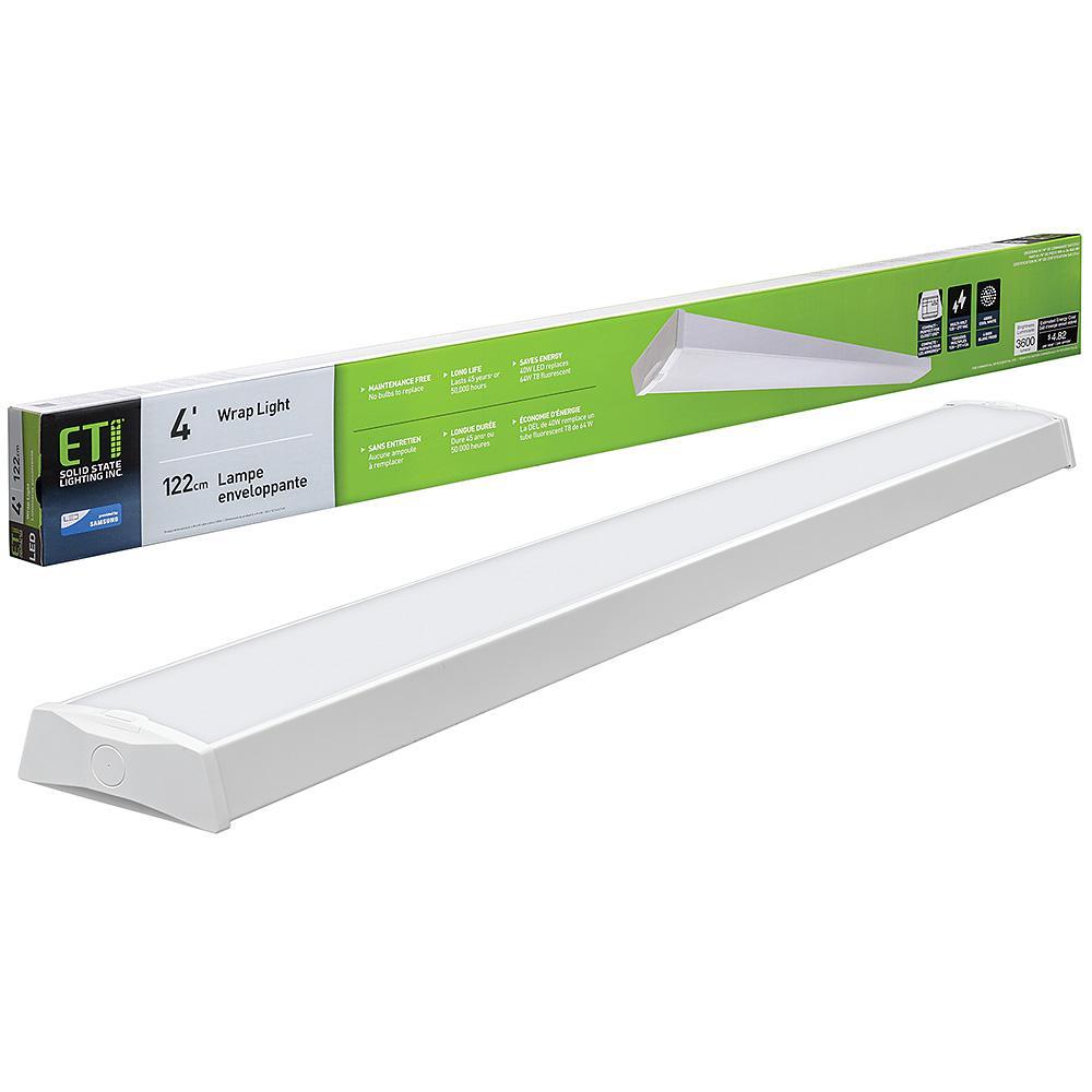 4 ft. 3600 Lumens Integrated LED White Wraparound Ceiling Light Flush Mount Multi-Volt 4000K Bright White