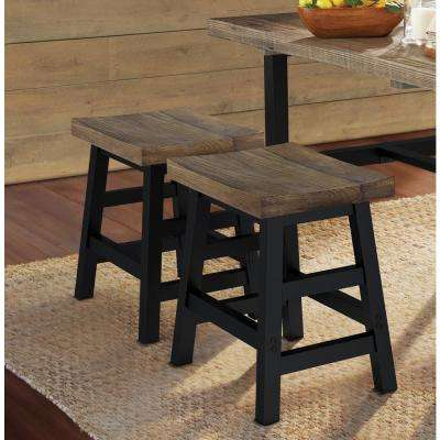 Pomona 20 in. H Brown Reclaimed Wood Bar Stool with Metal Legs