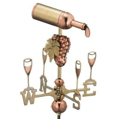 Wine Bottle Cottage Weathervane - Pure Copper with Roof Mount