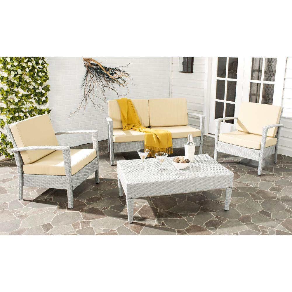 Safavieh Piscataway Gray 4 Piece Rattan Patio Seating Set With Beige  Cushions