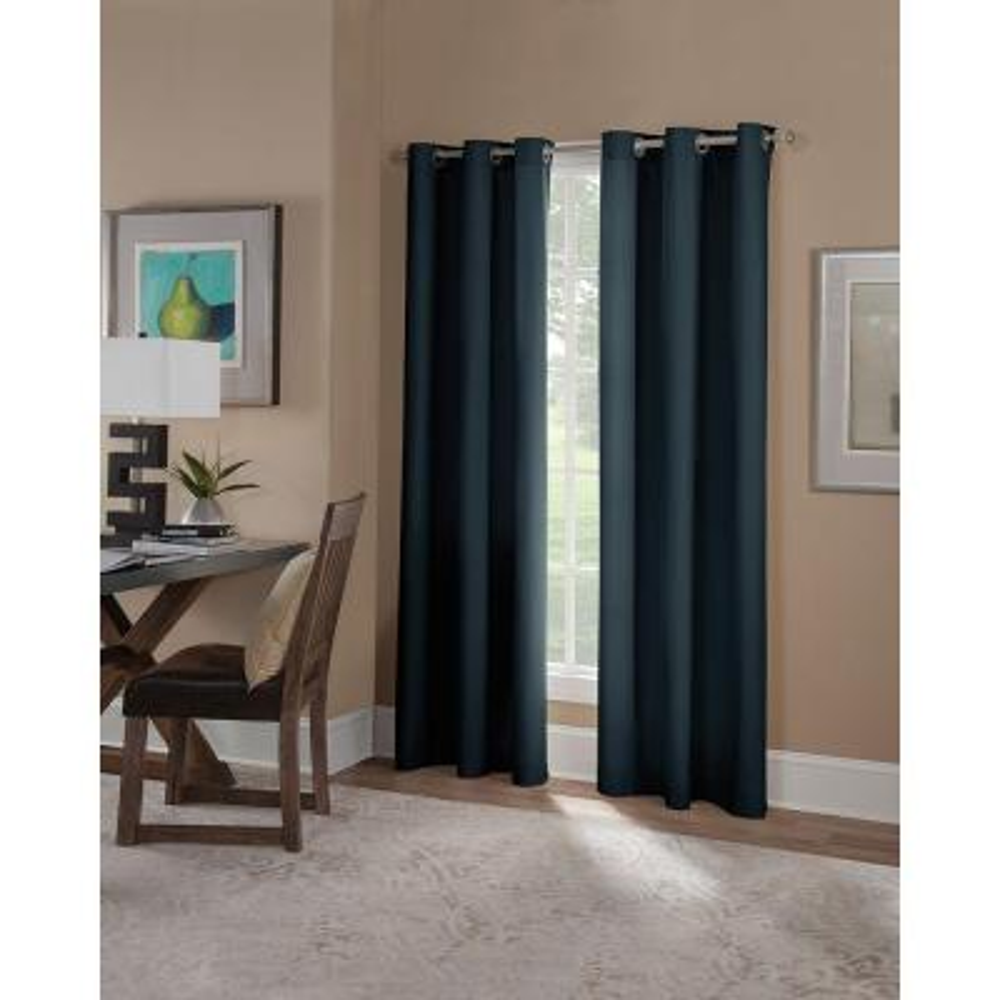Semi-Opaque Navy Microfiber Grommet Curtain (1 Panel)