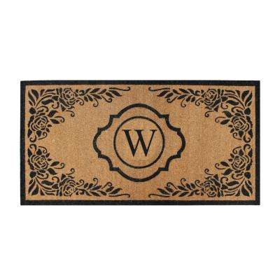 First Impression Hand Crafted Ella Entry X-Large Double Black/Beige 36 in. x 72 in. Coir Monogrammed W Door Mat