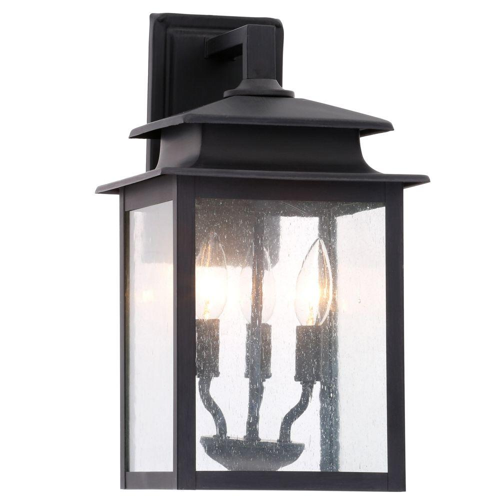 World Imports Sutton Collection 3 Light Rust Outdoor Wall Sconce
