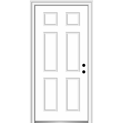 36 in. x 96 in. 6-Panel Painted Majestic Left-Hand Steel Exterior Prehung Front Door
