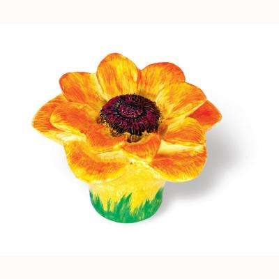 Flowers 2 in. Yellow / Orange Cabinet Knob