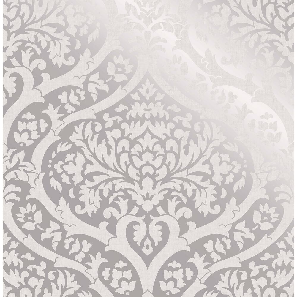 Sandringham Silver Damask Wallpaper Sample