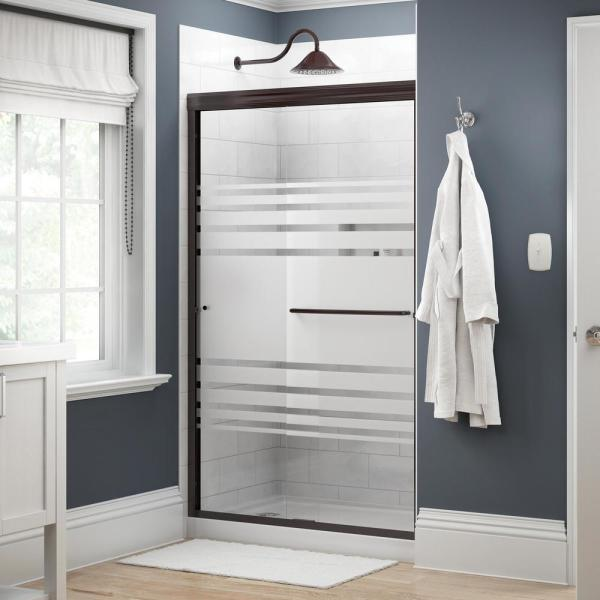 Simplicity 48 in. x 70 in. Semi-Frameless Traditional Sliding Shower Door in Bronze with Transition Glass