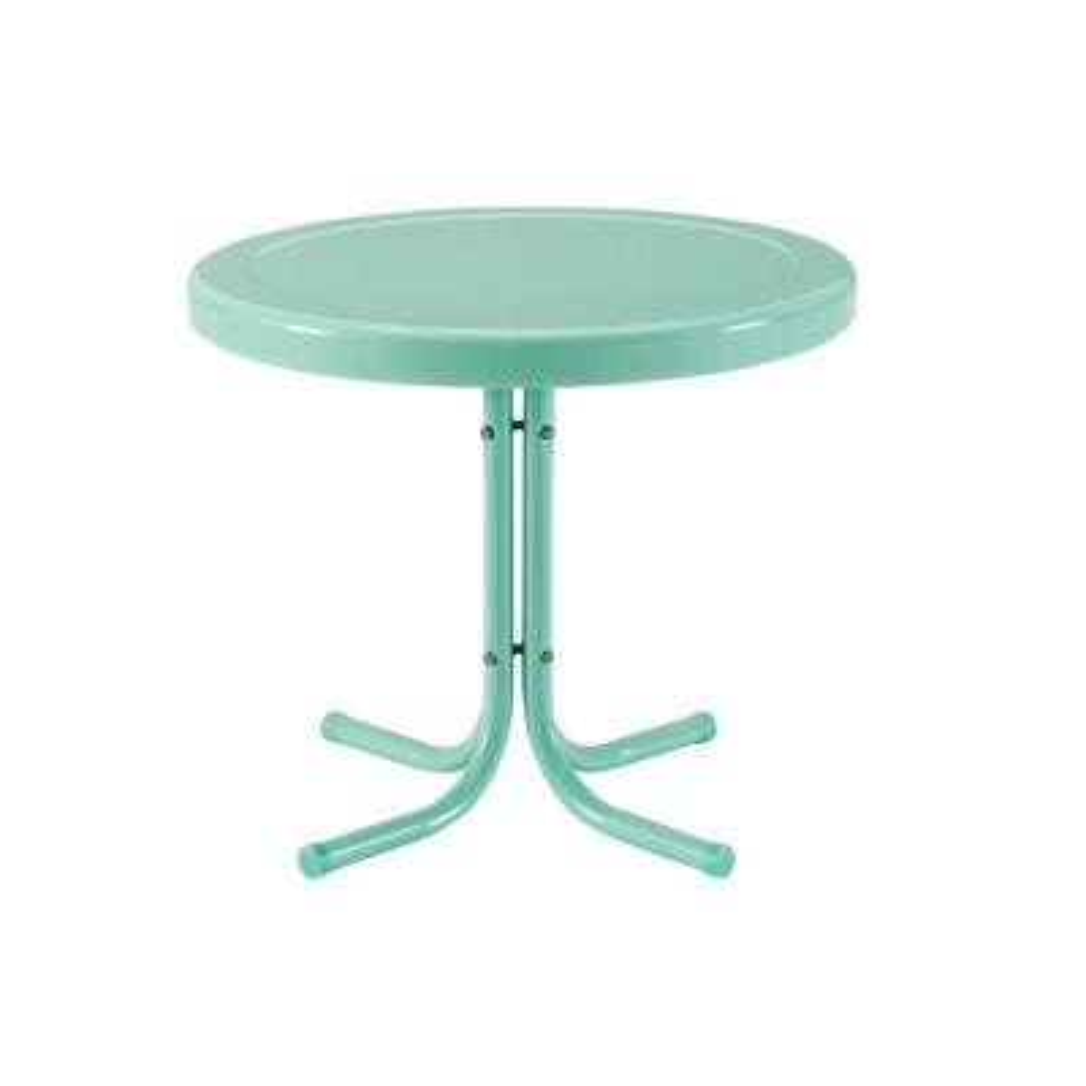 Retro Aqua Round Metal Outdoor Side Table