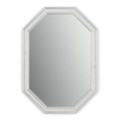 33 in. x 46 in. (L3) Octagonal Framed Mirror with Standard Glass and Flush Mount Hardware in Chrome and Linen