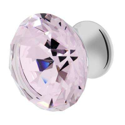 Nina 1-3/8 in. Chrome with Pink Crystal Cabinet Knob
