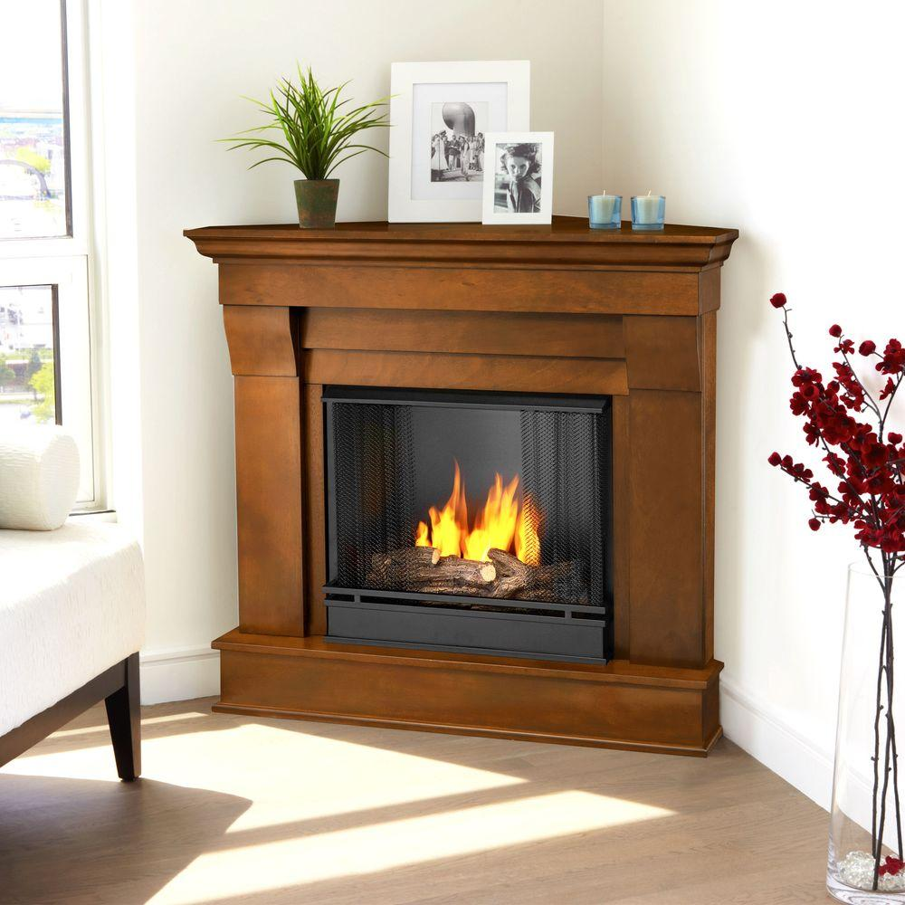 Real Flame Chateau 41 in. Corner Ventless Gel Fuel Fireplace in Espresso