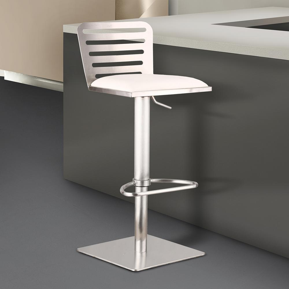 Armen Living Delmar 30 In. White Faux Leather And Brushed Stainless Steel  Finish Adjustable Barstool