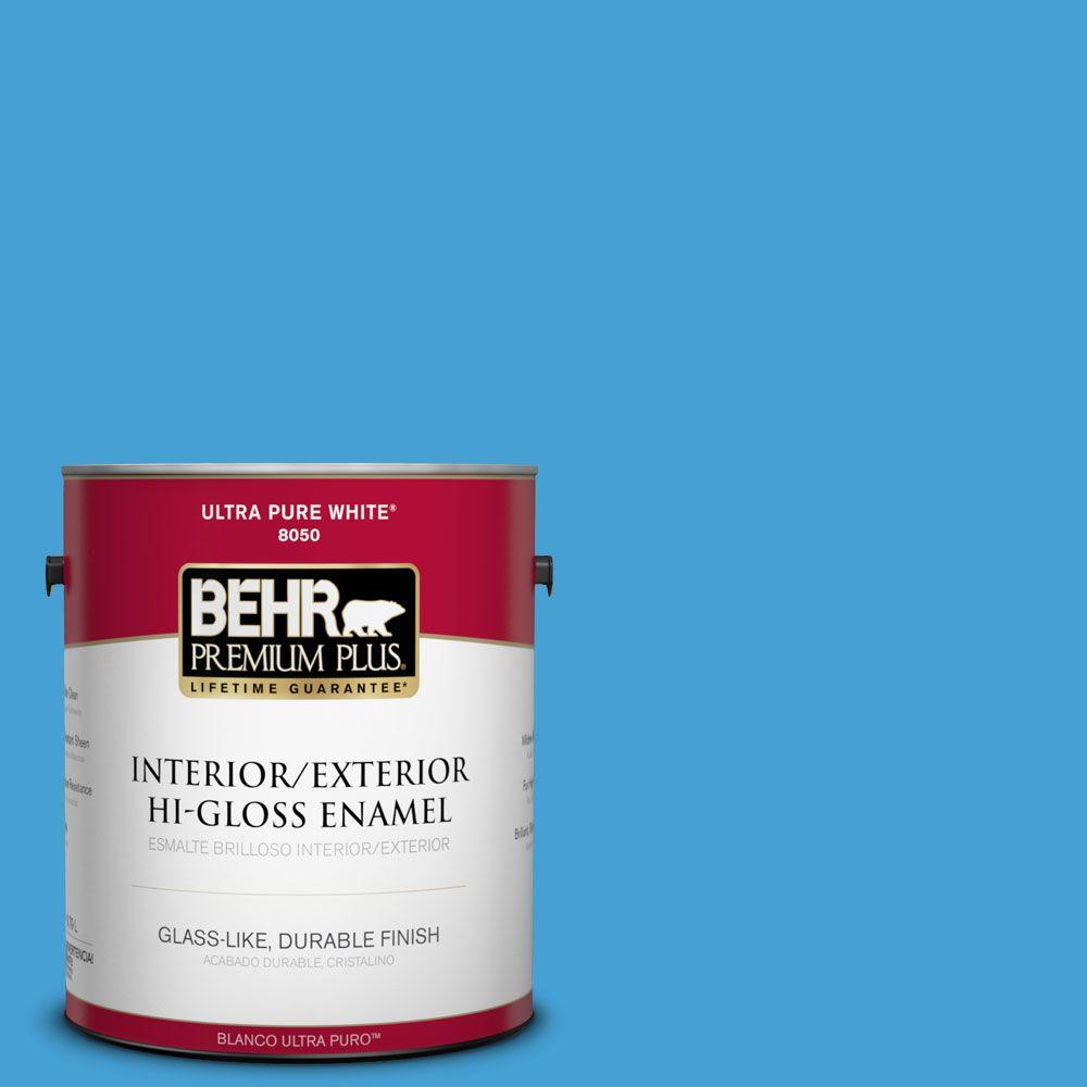 BEHR Premium Plus 1-gal. #P500-5 Peaceful River Hi-Gloss Enamel Interior/Exterior Paint