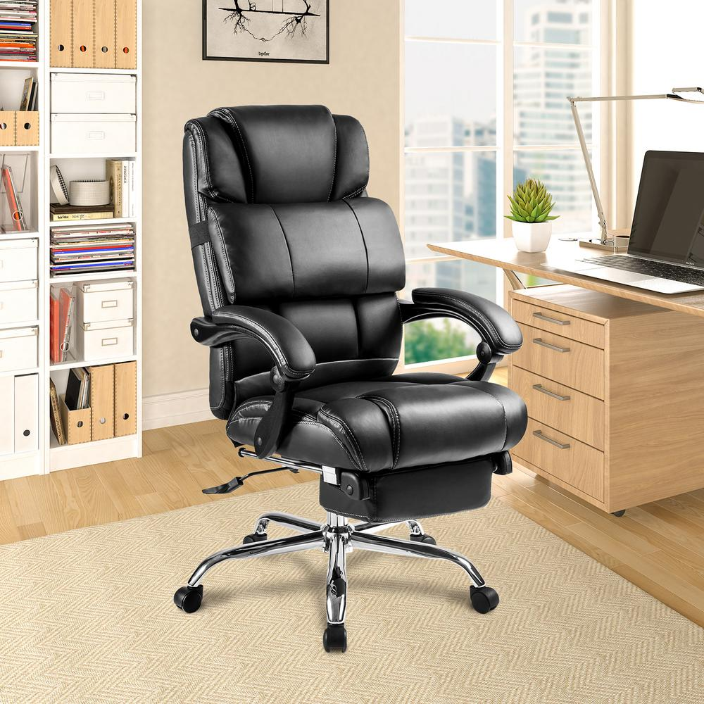 Merax Black Ergonomic PU Leather Big and Tall Office Chair with  Footrest-PP37BAA - The Home Depot