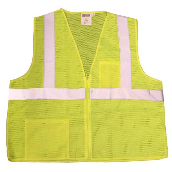 2X-Large Class 2 High Visibility Lime Green 2 Pocket Safety Vest with Zipper Closure
