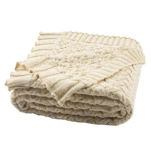 Adara Knit 50 in. x 60 in. Natural/Gold Throw