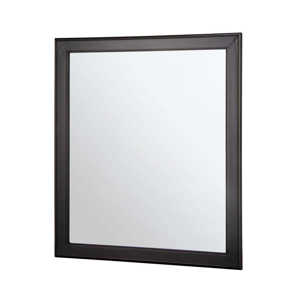 28 in. W x 32 in. H Framed Rectangular Beveled Edge Bathroom Vanity Mirror in Espresso