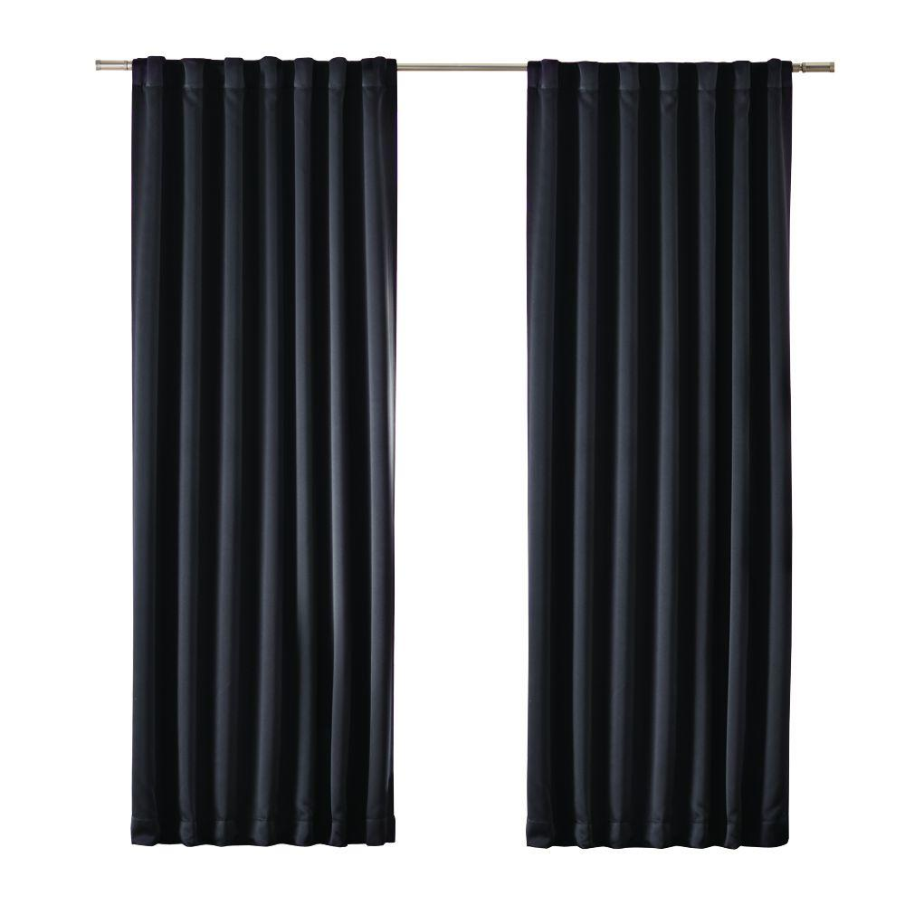 Home Decorators Collection Blackout Black Media Rod Pocket Curtain Price Varies By Size