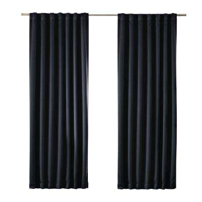 Blackout Black Blackout Media Rod Pocket Curtain (Price Varies by Size)