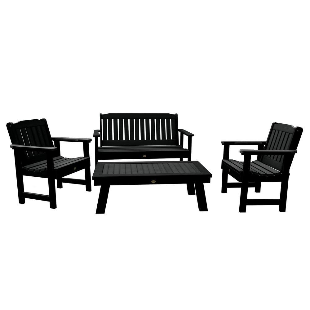 Lehigh Black 4-Piece Recycled Plastic Outdoor Conversation Set