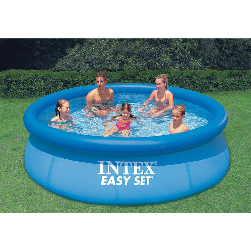 intex easy set 10 ft round x 30 in deep inflatable pool 28120eh the home depot