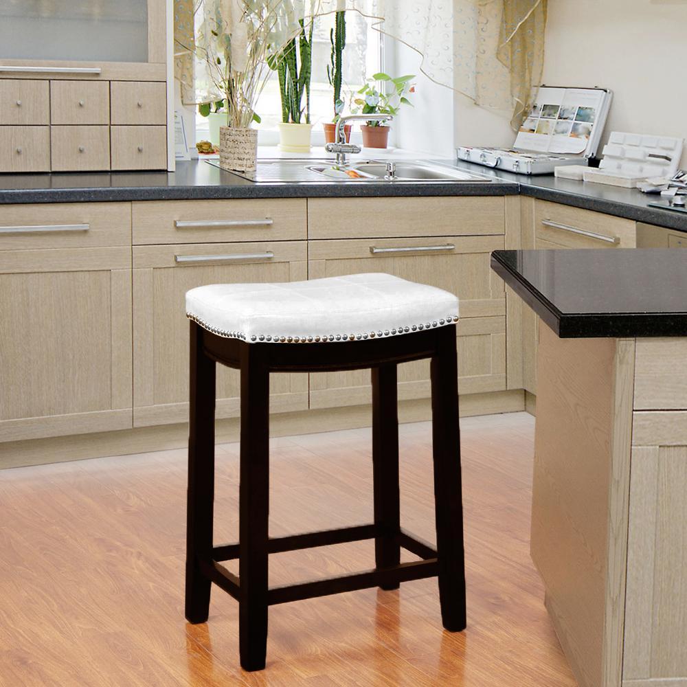 Linon Home Decor Claridge 32 in. Dark Brown Cushioned Bar Stool ...