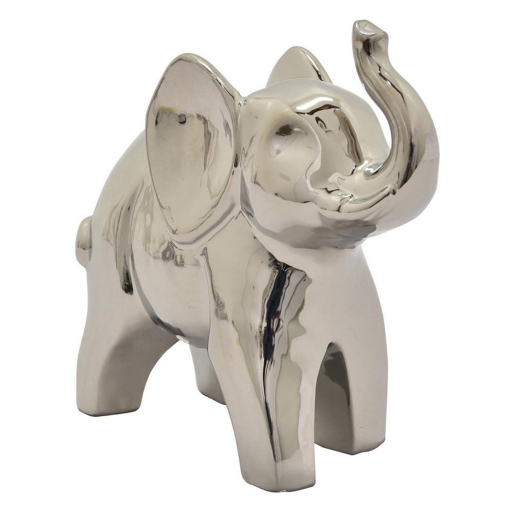 11.5 in. Ceramic Elephant Tabletop in Silver