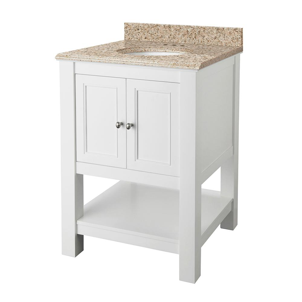 Home Decorators Collection Gazette 25 in. x 22 in. Vanity in White with Granite Vanity Top in Beige with White Sink was $576.0 now $403.2 (30.0% off)