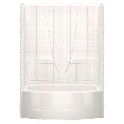 Everyday Smooth Tile 60 in. x 36.3 in. x 77.3 in. 1-Piece Curved Bath and Shower Kit with Left Drain in Bone
