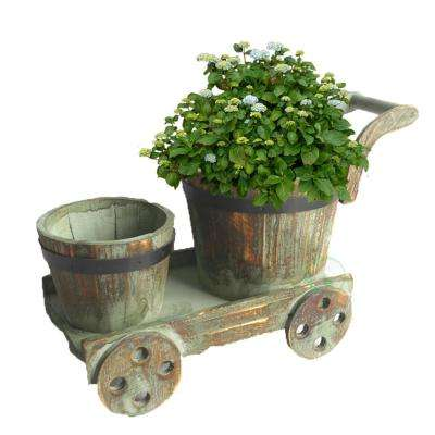 15 in. W x 6.4 in. D x 7.8 in. H Wood 2 Barrel Planters on Cart