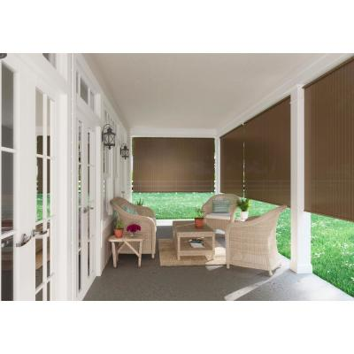 Brown Cordless Light Filtering Fade Resistant Polypropylene Exterior Roller Shade 96 in. W x 72 in. L