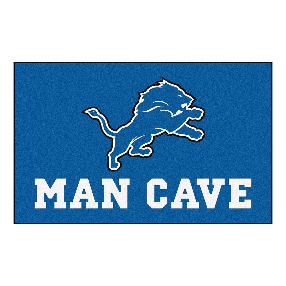 NFL Detroit Lions Blue Man Cave 5 ft. x 8 ft. Area Rug