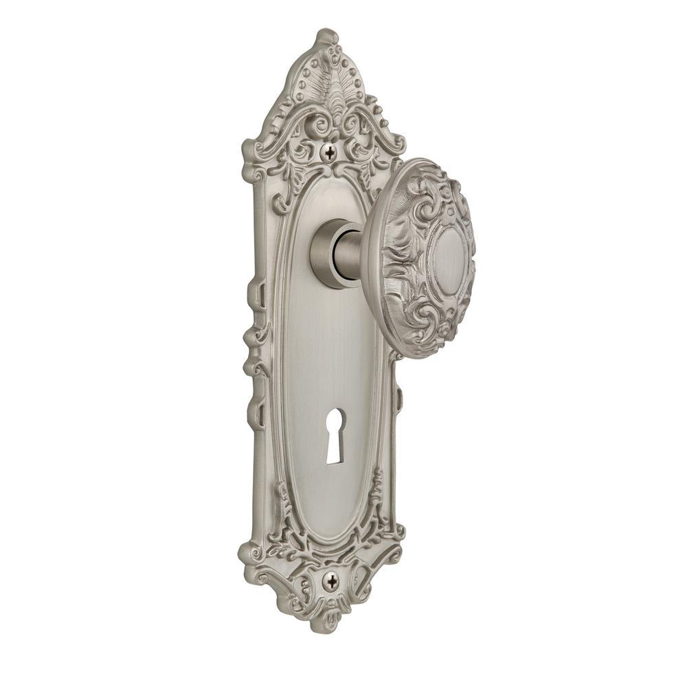 Nostalgic Warehouse Victorian Plate With Keyhole Single Dummy Victorian  Door Knob In Satin Nickel