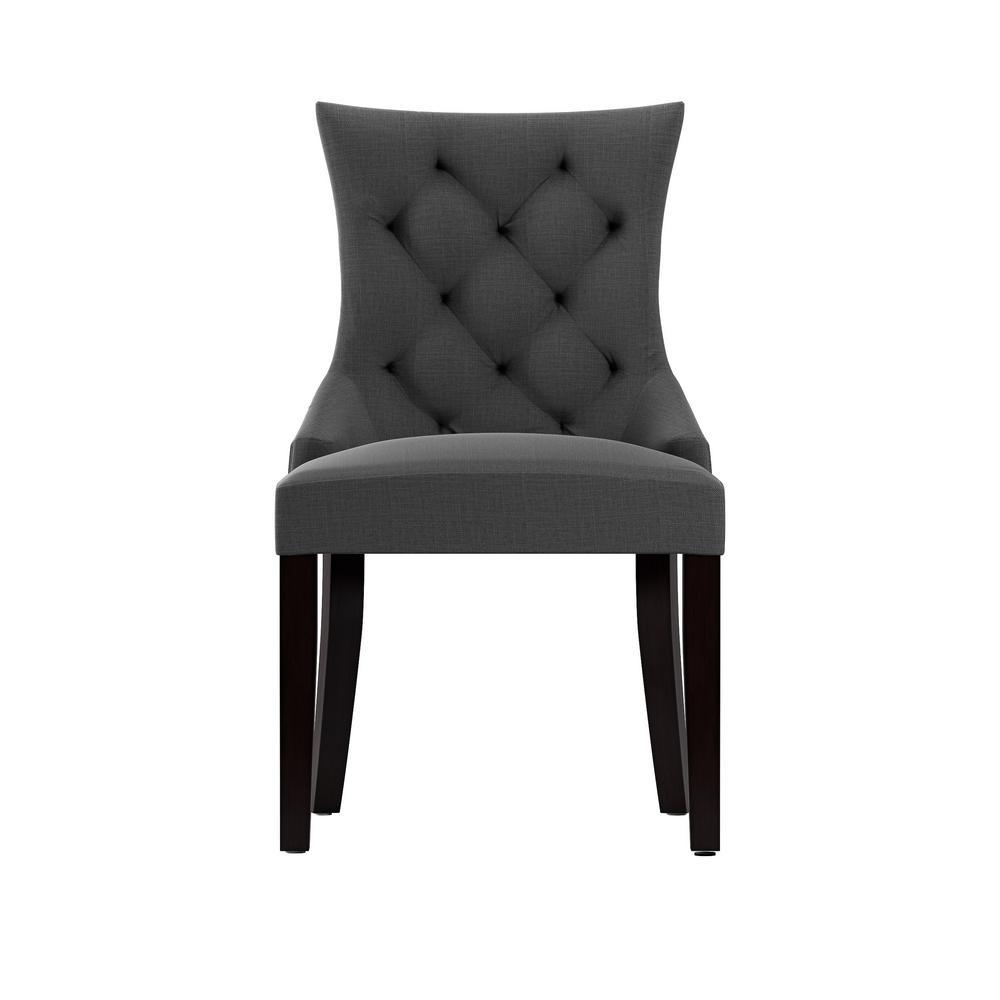 Corliving Antonio Dark Grey Fabric Accent Chair Set Of 2