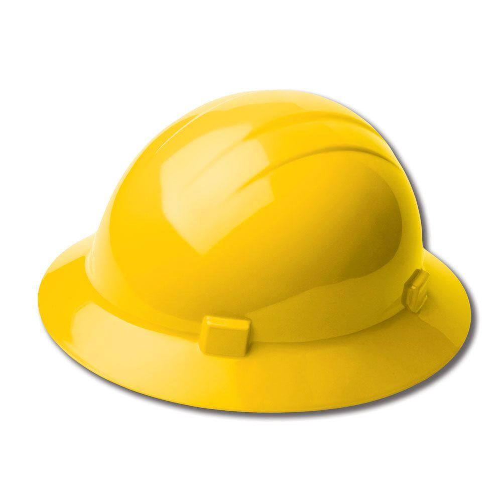 4-Point Plastic Slide-Lock Suspension Full Brim High Heat Hard Hat in