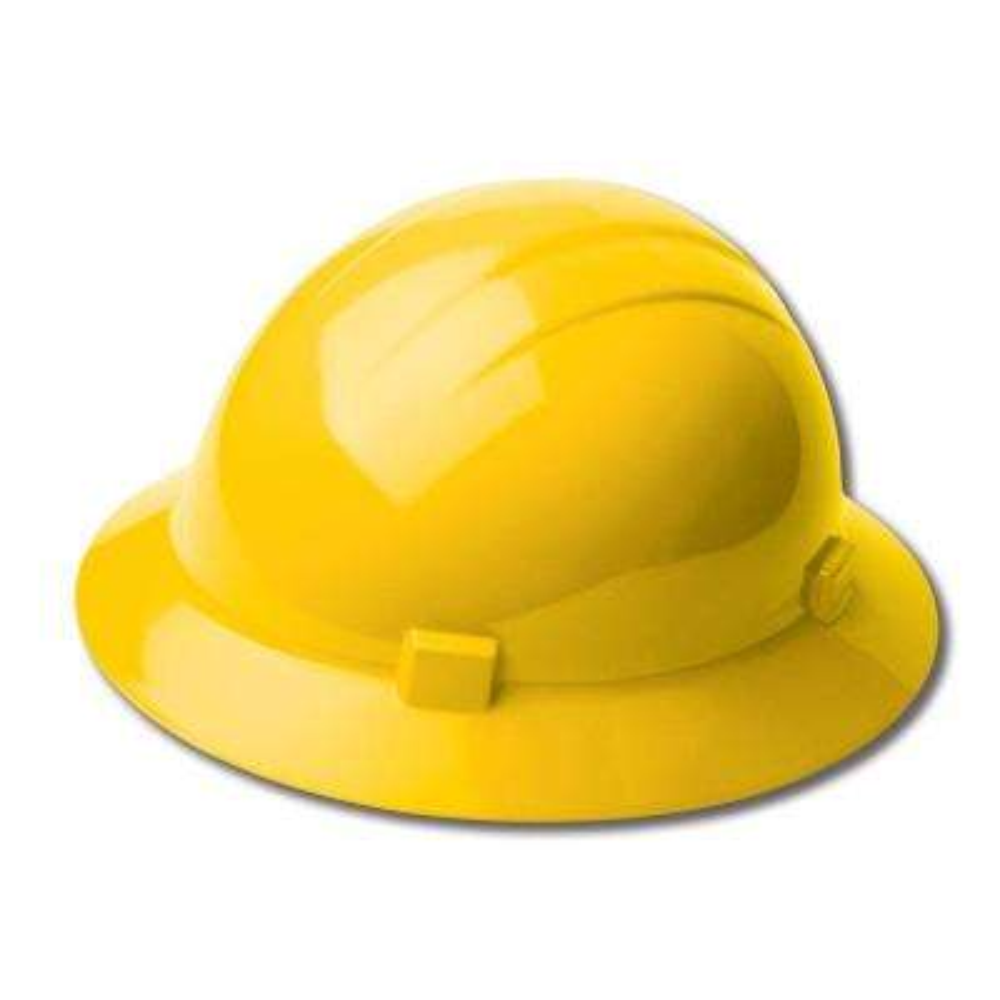4-Point Plastic Slide-Lock Suspension Full Brim High Heat Hard Hat in Yellow
