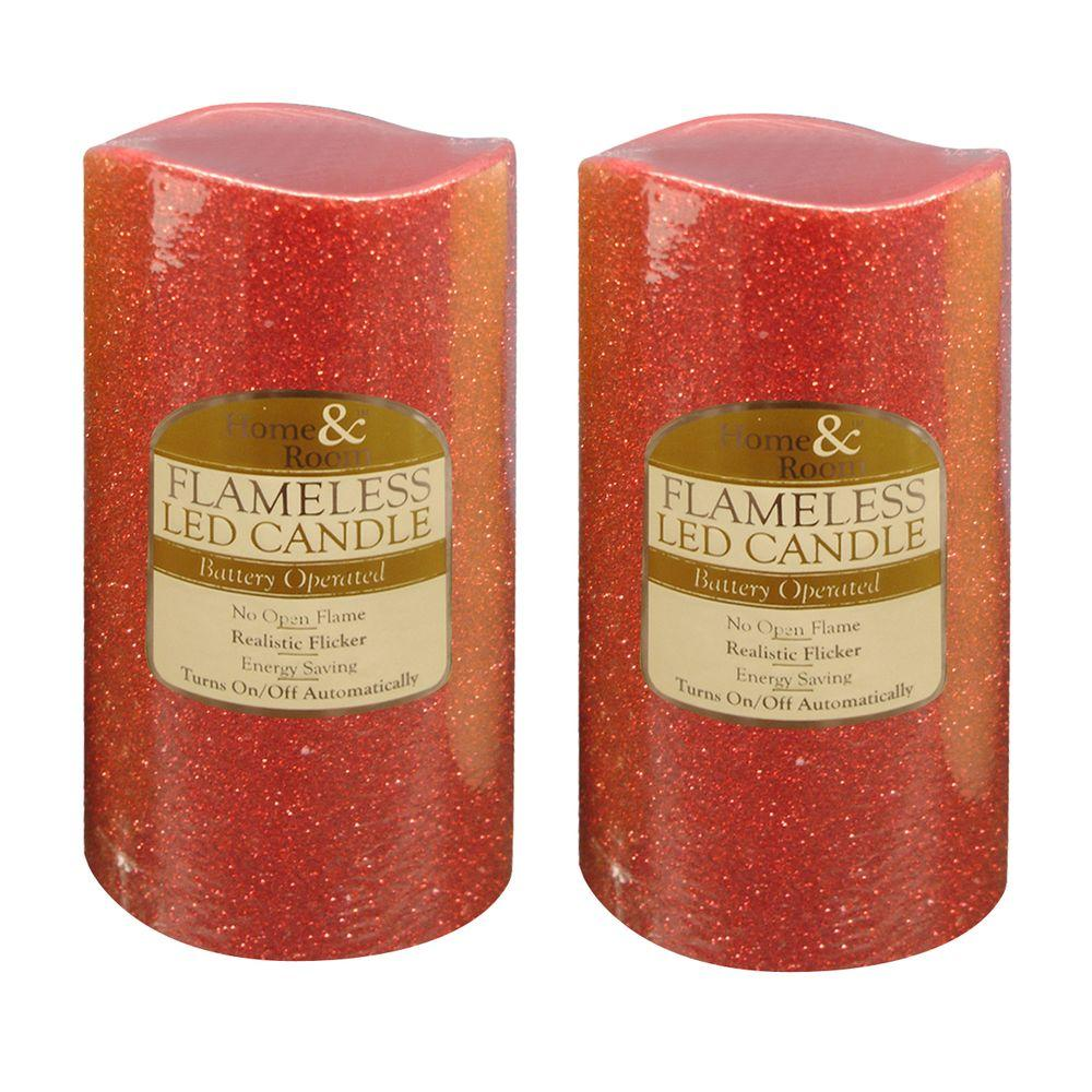 Brite Star 6 in. Red Glitter Flameless LED Candles (Set of 2)
