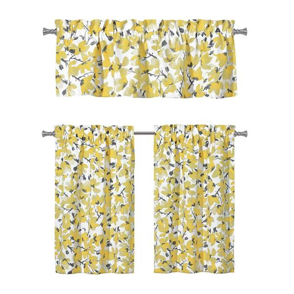 Vera Margery Grey Yellow Kitchen Curtain Set 58 In W X 15 In L In 3 Piece Marg 14099d 12 The Home Depot