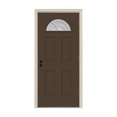 32 in. x 80 in. Fan Lite Langford Dark Chocolate Painted Steel Prehung Left-Hand Outswing Front Door w/Brickmould