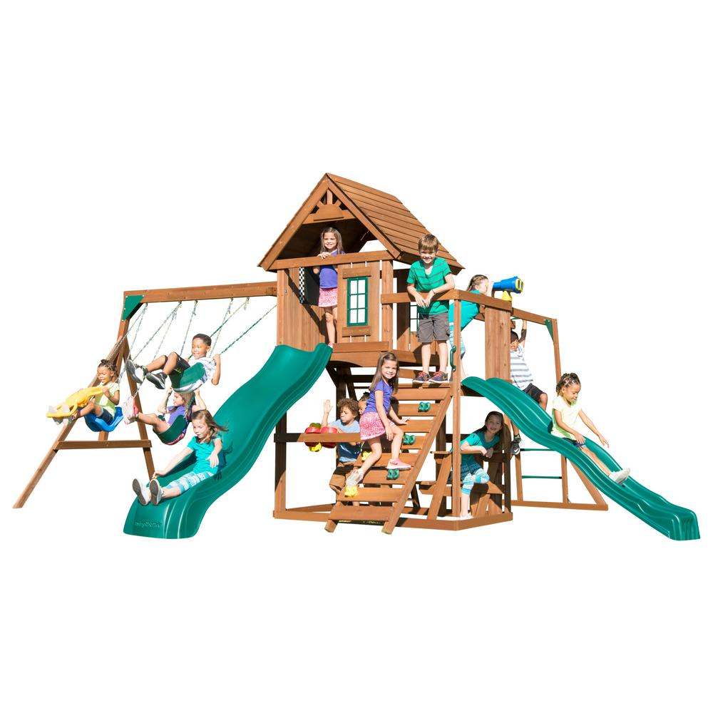 Swing-N-Slide Playsets Super KnightsBridge Wood Complete Playset with Wood Roof Monkey Bars Cool Wave Slide and Bonus Accessories
