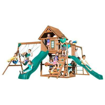 Super KnightsBridge Wood Complete Swing Set with Wood Roof Monkey Bars Cool Wave Slide and Bonus Accessories