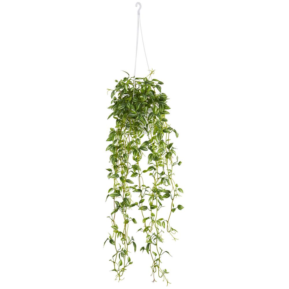 Nearly Natural Green Variegated Wandering Jew Hanging Basket Artificial Plant