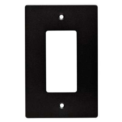 Subway Tile Decorative Single Rocker Switch Plate, Flat Black (4-Pack)