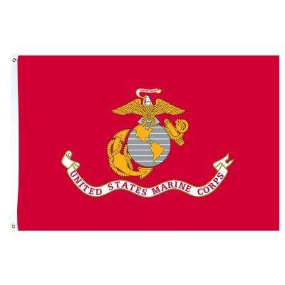 3 ft. x 5 ft. US Marine Corps Polycotton Flag with Heading and 2-Grommets