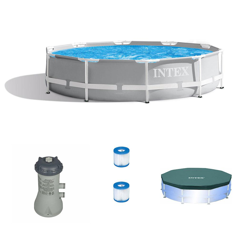 Intex 10 ft. Round 30 in. D Hard Side Above Ground Pool with Cartridge  Filter Pump, 2 Filters and Cover