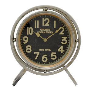 THREE HANDS 14 inch x 4.75 inch Metal Table Clock in Gray by THREE HANDS