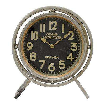 14 in. x 4.75 in. Metal Table Clock in Gray